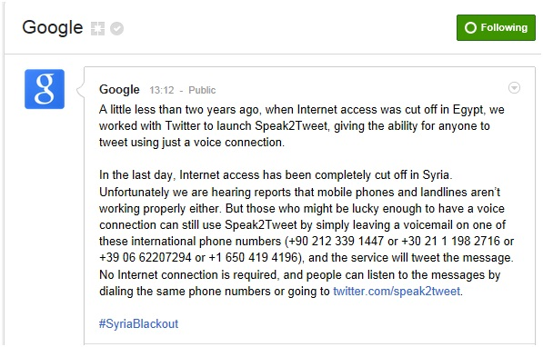 Syria Blackout #2 - G+ Page